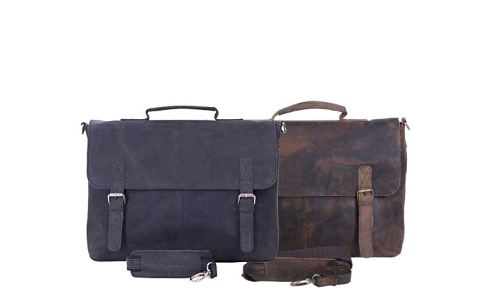 16 Inch Retro Buffalo Hunter Leather Laptop Messenger Bag Office Briefcase College Bag