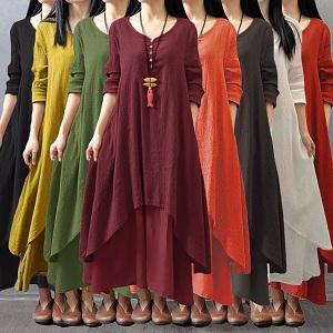women boho maxi long dress