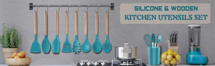 19pcs Silicone Kitchen Utensil Set with Holder,also has a hanging holes for convenient suspension.