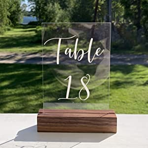 acrylic table number walnut wood stand