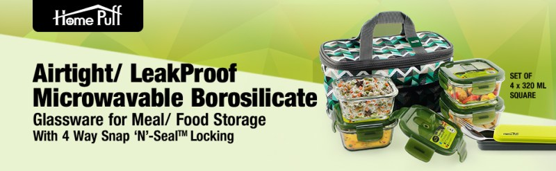 237b81df 2a83 42c0 8d34 a17af760b345.  CR0,0,970,300 PT0 SX970 V1    - Home Puff Borosilicate Glass Lunch Box H29 Microwavable, AirVent Lid, Premium Carry Bag (320 ML, Set of 4)