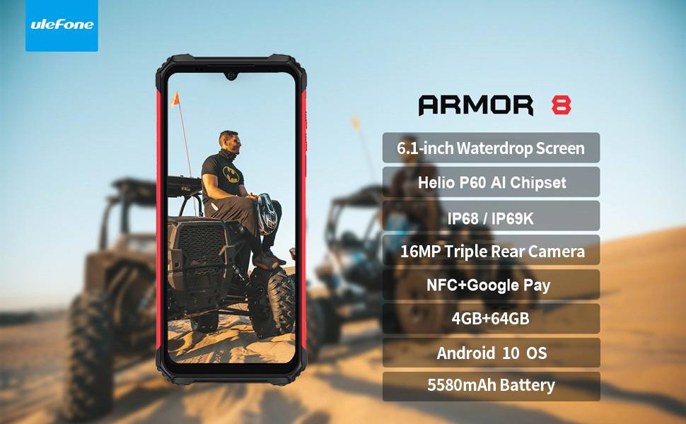 Ulefone Armor 8, rugged phone, rugged cell phone, rugged smartphone, unlocked. ulefone armor 6E