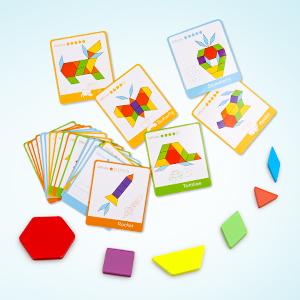 Geometric Shapes Puzzles Brain Teaser Toys for Kids STEM Educational Montessori Tangram Toys
