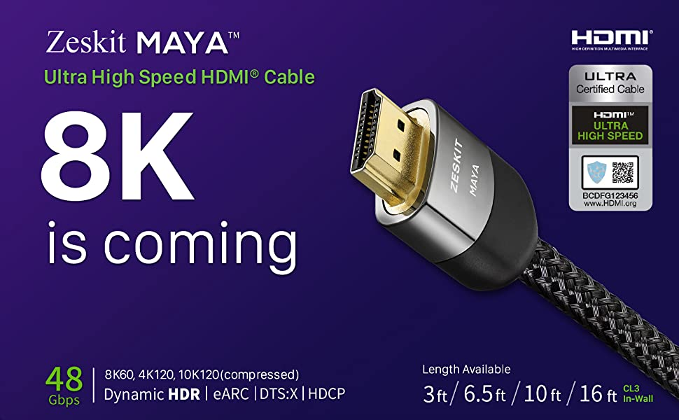 8K HDMI 2.1 48Gbps Cable eARC Dynamic HDR Xbox One X