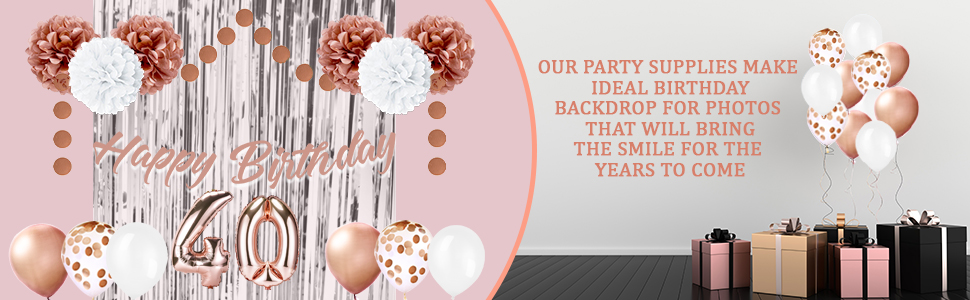 Rose Gold garland happy birthday banner 40th
