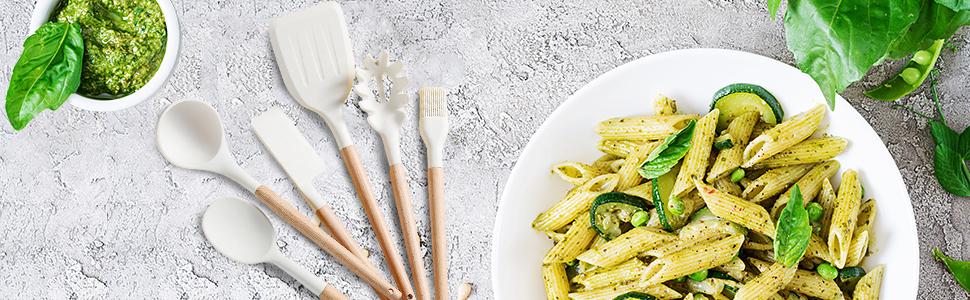 Pasta White Kitchen Utensils Set Wooden Handles Holder