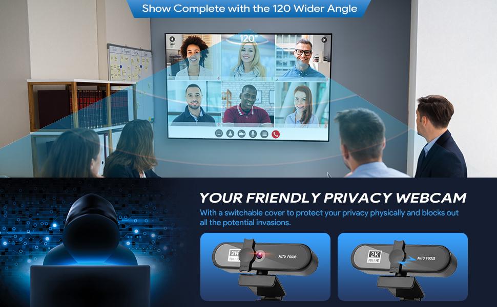 Plug and Play Streaming Webkamera Autofokus 120° breit Single, ideal für Konferenzen