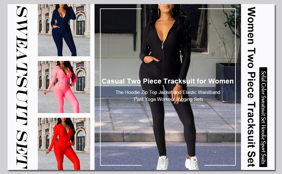 Women Solid Two Piece Outfit Long Sleeve v neck Tops And Long Pants Sweatsuits Tracksuits