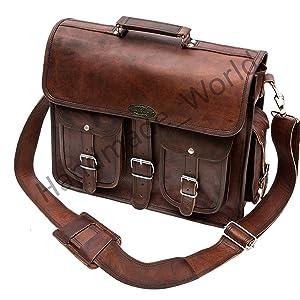 Adjustable shoulder strap leather briefcase