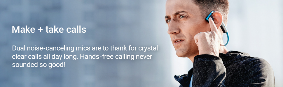 Dual noise-cancelling mics deliver crystal clear calls all day long for hands-free calling.