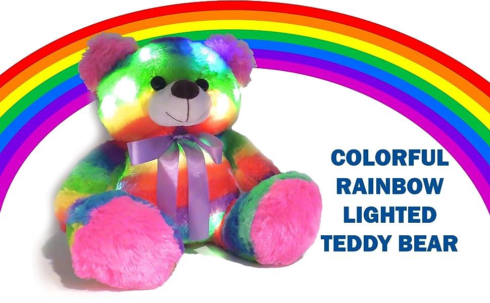 LIGHTUP LIGHTED LIGHT UP RAINBOW TEDDY BEAR FOR CHILDREN AGE 2 3 4 5 YEARS OLD PLUSH NIGHT LIGHT