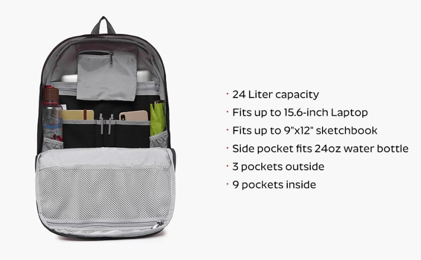large spacious roomy laptop bookbag