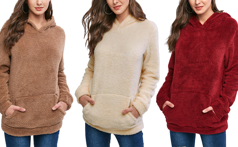 Women Fuzzy Fleece Hoodies