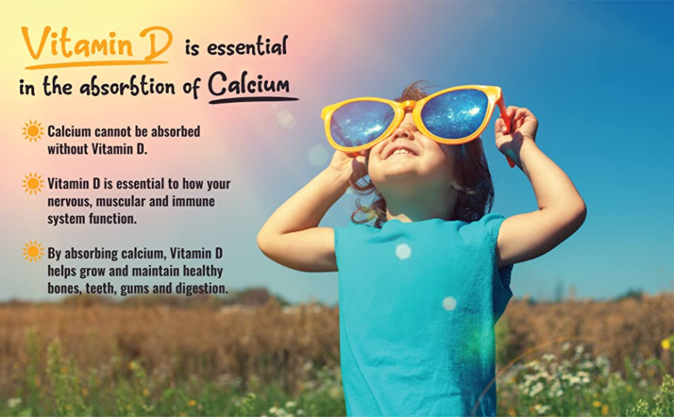 Vitamin D plus calcium provide optimal absorption, support for nervous, muscular and immune system