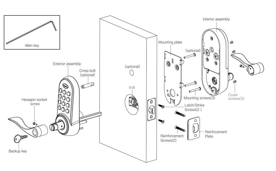 keypad deadbolt lock with handle