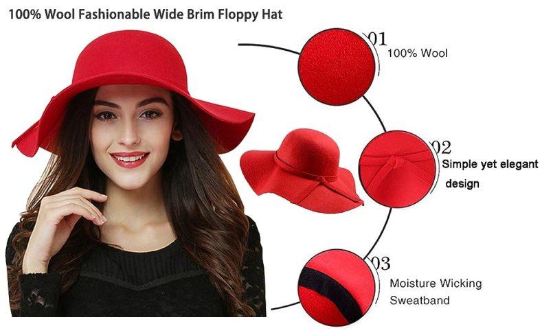 womens floppy hat red