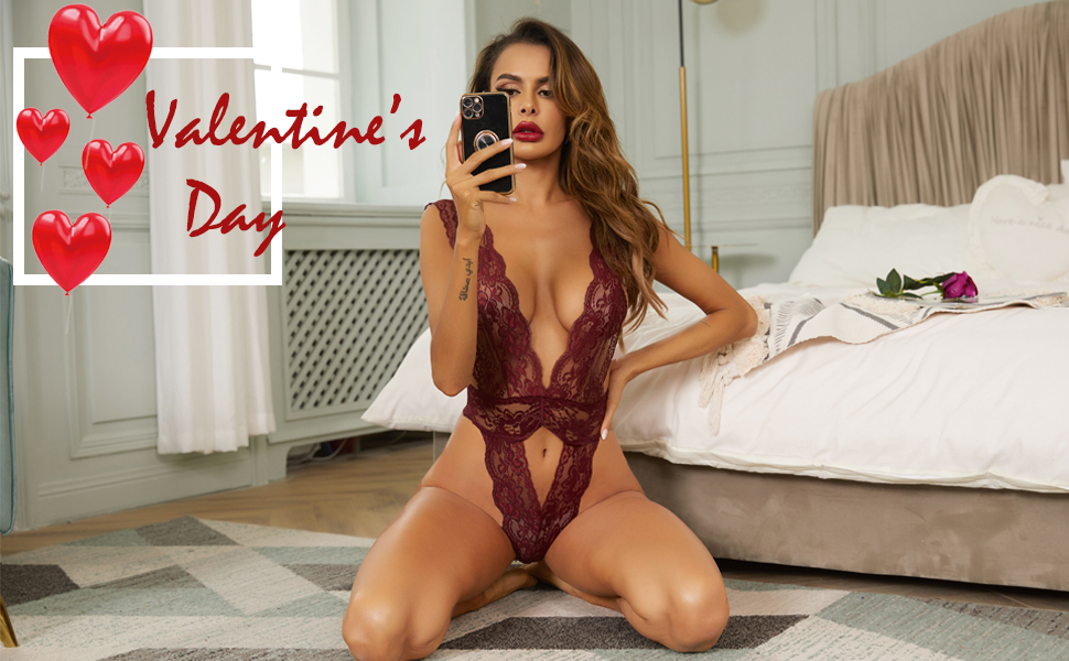 lace bodysuit for women Valentine's Day lingerie sexy lace lingerie one piece teddy babydoll