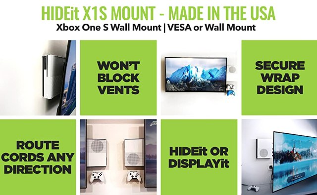 HIDEit Xbox One S Wall Mount designed for Xbox 1 S Console