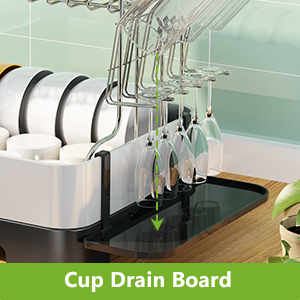 Dish Drying Rack, Stainless Steel 2 Tier Dish Rack with Drainboard Utensil Holder Dish Drainer