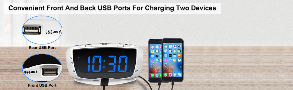 blue display clock radios double usb port for charging