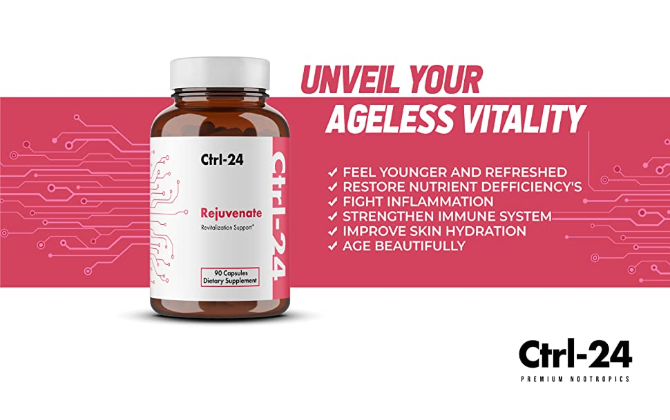 95% curcumin ctrl 24 rejuvenate 3000 mcg biotin vitamin c hyaluronic acid young youthful ageless