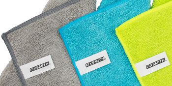 microfiber cloths with over-lock stitched reinforced edges
