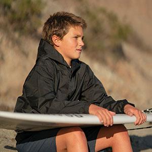 surf jacket hoodie for kids waterproof wind proof
