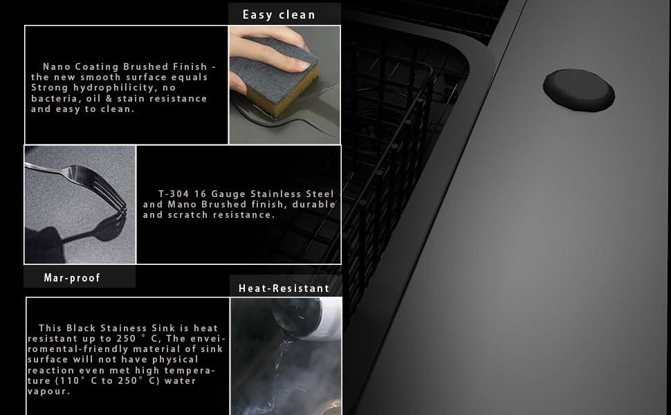 Black Farmhouse Sink Drop in Stainless Steel Topmount Kitchen Sinks