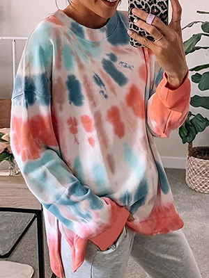 Color Block Lightweight Loose Pullover Shirts