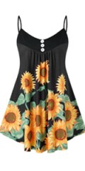 Women's Plus Size Sunflower Printed Tank Top