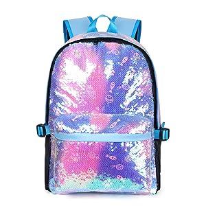 blue sequin backpack