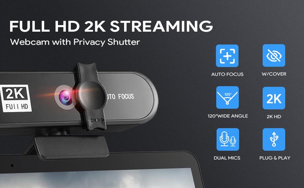 2K FHD Webcam mit Mikrofon für PC
