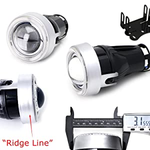 3-Inch Projector Fog Light Lamps w/ 40-SMD Brilliant Red LED Halo Angel Eyes Rings