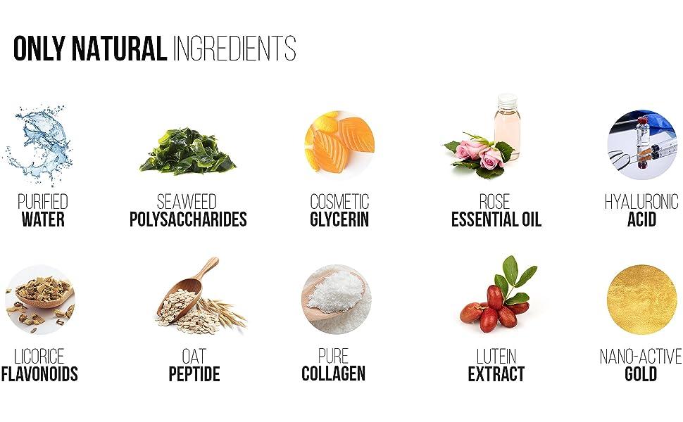 only natural ingredients, water, seaweed polysacharide, glycerin, rose essential oil hyaluronic acid