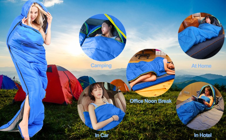 polyester single water proof heat sleeping bag for men adults for winter camping outdoor indoor