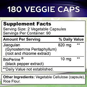 vegan vegetarian veggie caps Bioperine cardiovascular energy focus mental adaptogen gypenosides