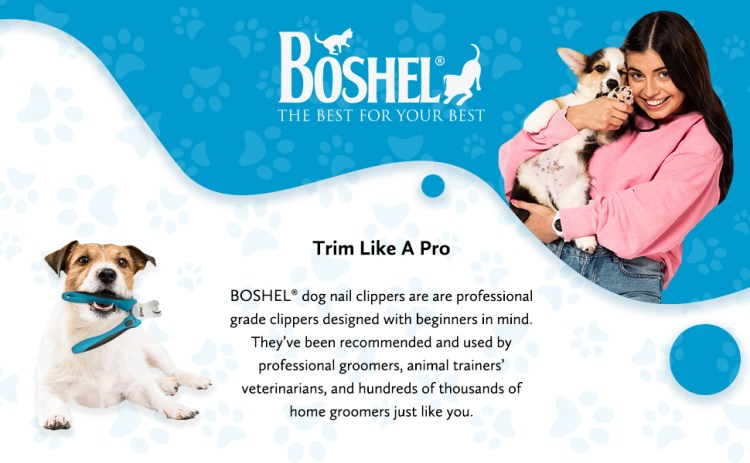 BOSHEL Dog Nail Clippers and Trimmer with Safety Guard to Avoid Over-Cutting Nails & Free Nail File – Razor Sharp Blades – Sturdy Non-Slip Handles – for Safe, Professional At Home Grooming