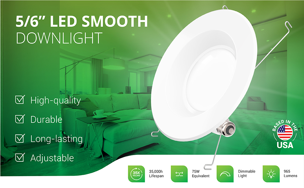 5/6 Inch LED Recessed Downlight, Smooth Trim, Dimmable, Damp Rated, Simple Retrofit Installation