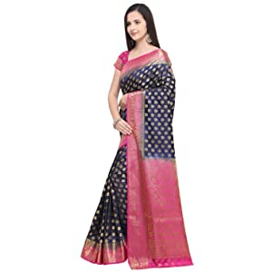 Rajnandini Women's Banarasi Silk Weaving Work Traditional Saree With Unstiched Blouse