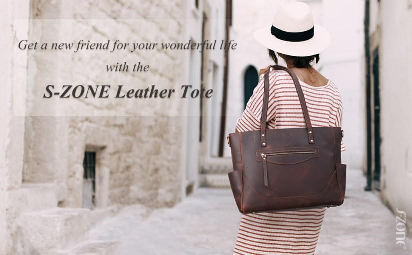 S-ZONE Women Vintage Genuine Leather Tote Bag Large Shoulder Purse Work Handbag with Crossbody Strap