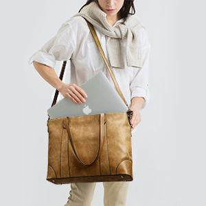 Genuine Leather Work Tote for 15.6 inch Laptop Women Shoulder Bag Large Handbag