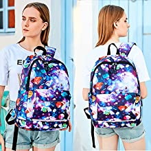 middle school girl backpack with phone charger