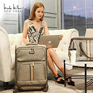 Nicole Miller luggage suitcase bag carry on lightweight ultra light travel expandable