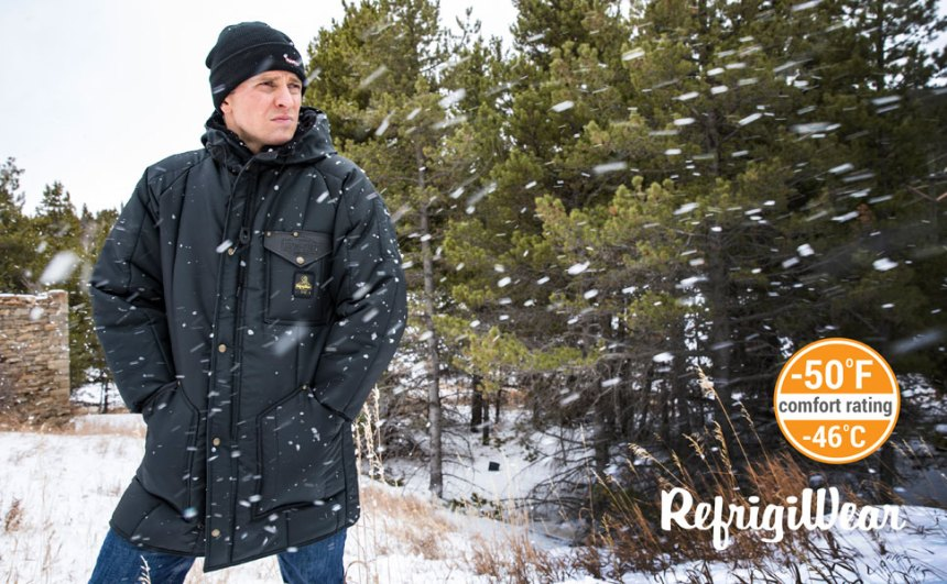 RefrigiWear Men's Iron-Tuff Ice Parka Water-Resistant Insulated Coat with Hood
