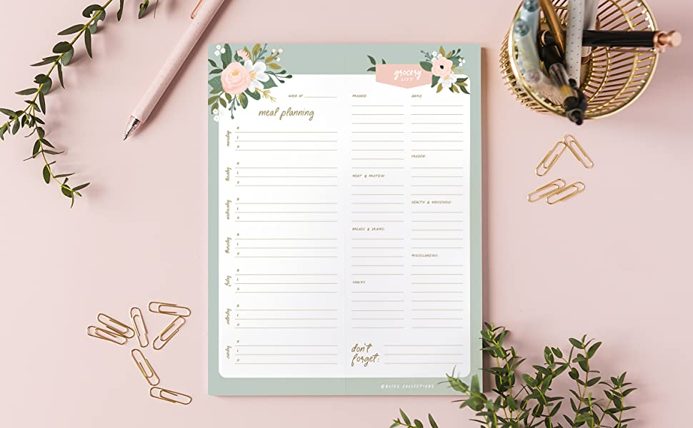Floral Meal Planner Notepad for Refrigerator Grocery List Pad Magnet
