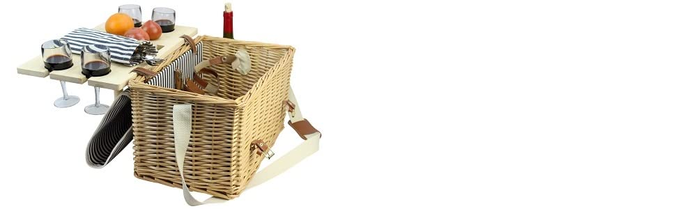 basket with wine table