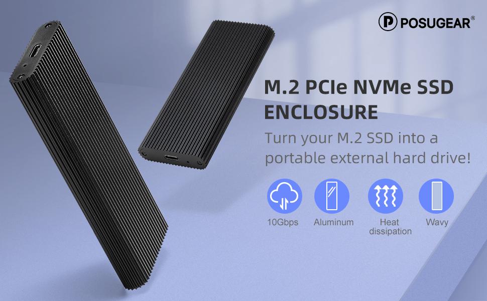POSUGEAR M.2 NVMe Externes PCIe SSD-Gehäuse USB 3.1