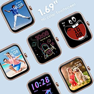 1.69 inch TFT-LCD full touch screen with Custom Watch Faces