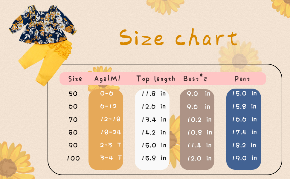 Yoveme Toddler Infant Baby Girls Clothes Floral Print Cute Tops Flower Pants Fall Winter Outfit Set