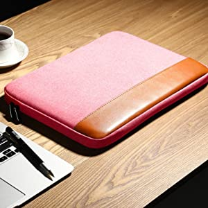 pink canvas leather laptop bag
